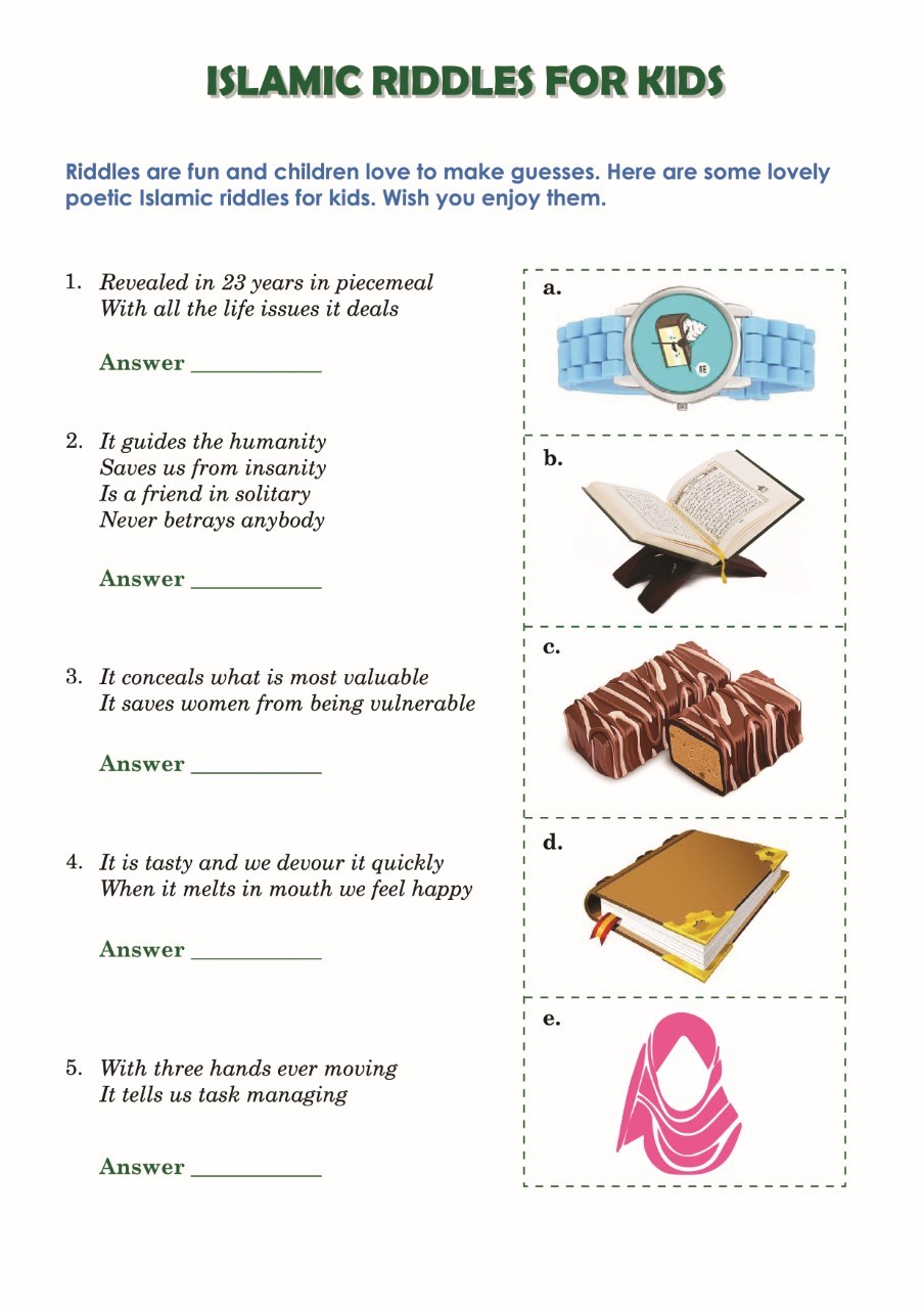 Printable Worksheet- Islamic Riddles – Words Catcher